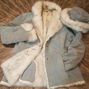 Genuine Leather matching faux fur hat and coat